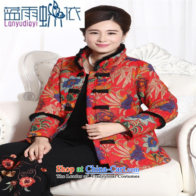 Ya-ting shop in older short of cotton coat jacket rabbit hair MOM pack of ethnic women cotton waffle pack�Color Tang�L