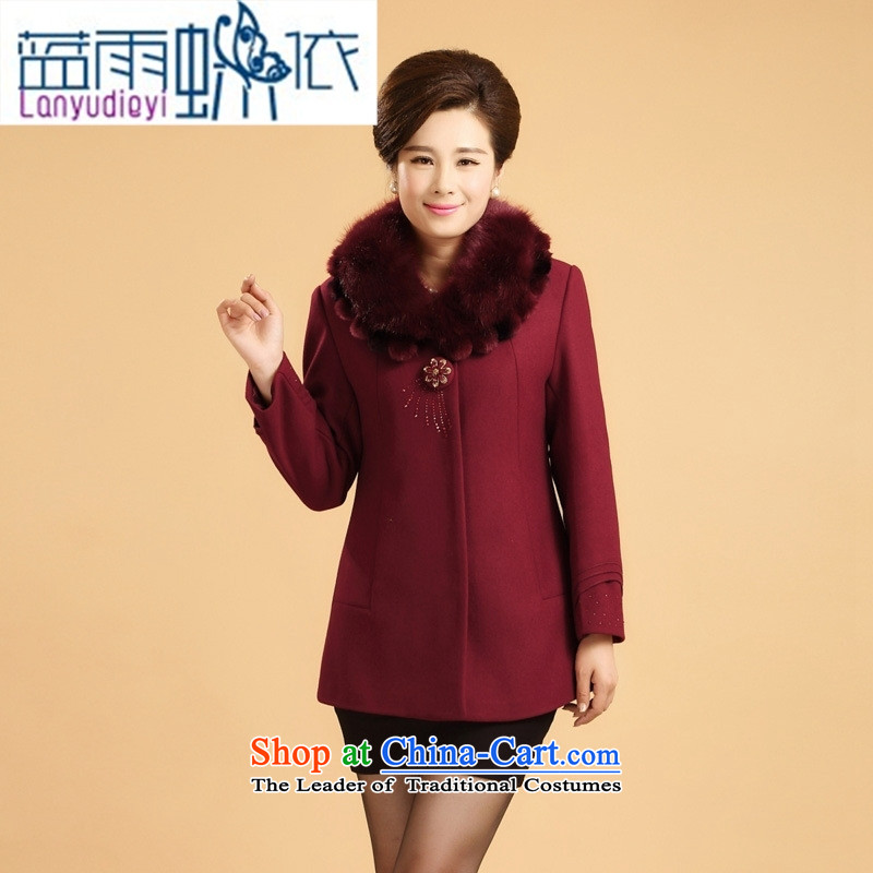Ya-ting shop in older women's autumn and winter coats middle-aged moms load replacing winter clothing 40-50-year-old wool? gross Neck Jacket Red 4XL