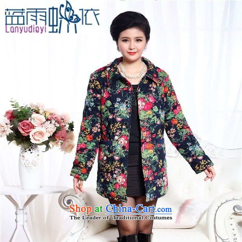 Ms. Ya-ting shop ãþòâ winter new lapel cotton coat stamp single row detained in coats leisure robe MOM Pack Figure 1 XXL