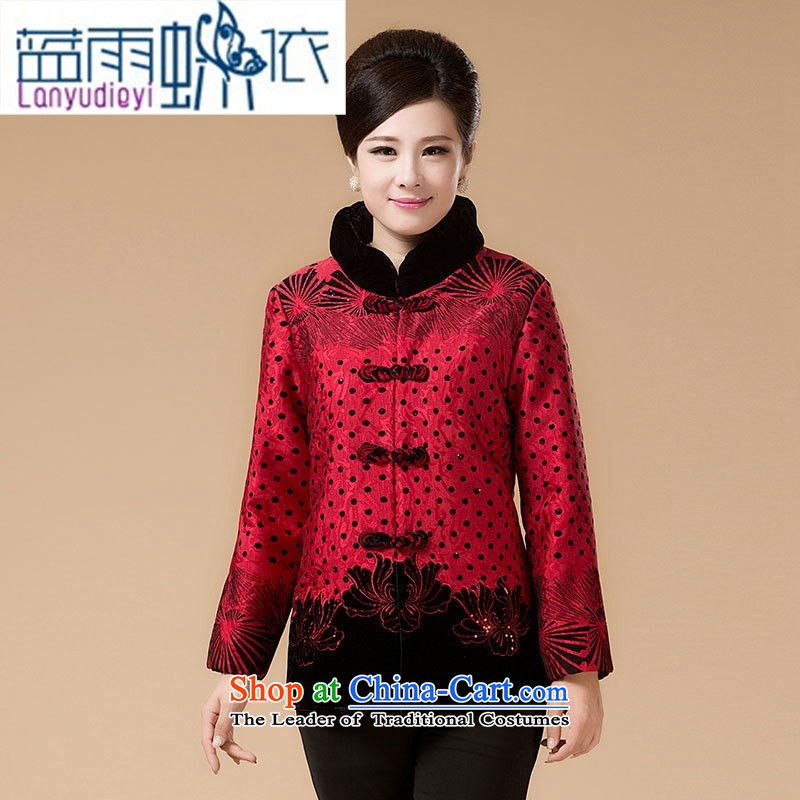 Ya-ting shops of older persons to intensify her grandmother robe replacing Tang dynasty cotton coat of older persons in the women's mom pack short of thick cotton 3XL color picture