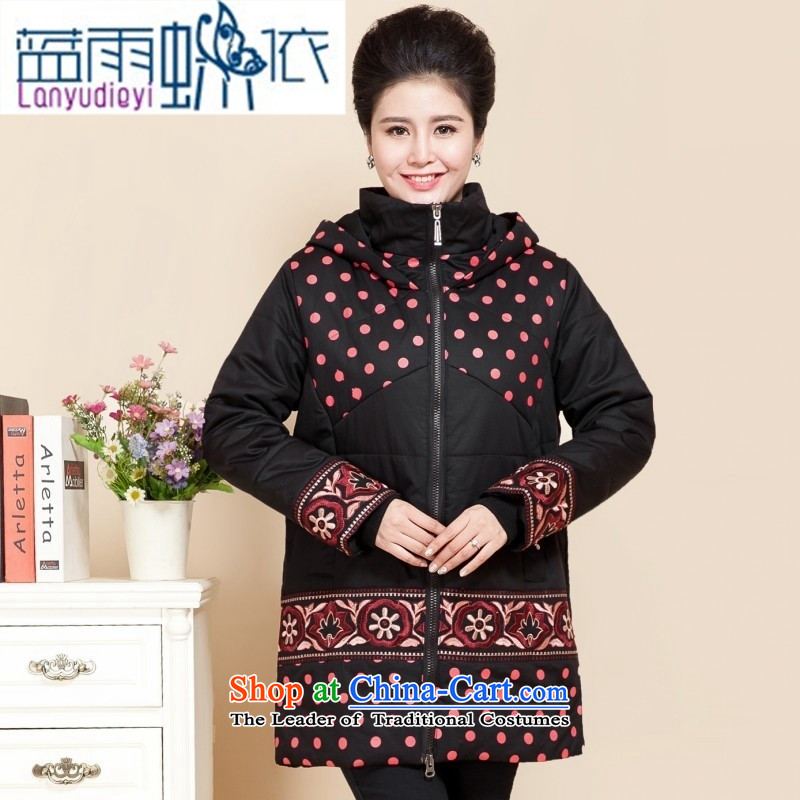 Ya-ting shop in older winter clothing cotton coat to increase the number of female middle-aged moms jackets in thick long coat 200 catties red-orange cotton coat�L recommendations 150 to 170 catties