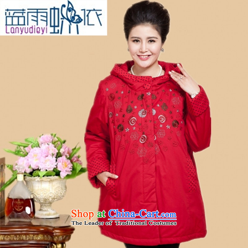 Ya-ting shop in older women Fall/Winter Collections extra load mother cotton coat jacket in long thick cotton grandma 200catty red-orange cotton coat 3XL recommendations 150 to 170 catties