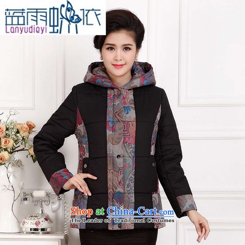 Ya-ting shop in older short of large winter 2015 Cotton Women's mom pack cotton coat, thick with cap black jacket 3XL robe