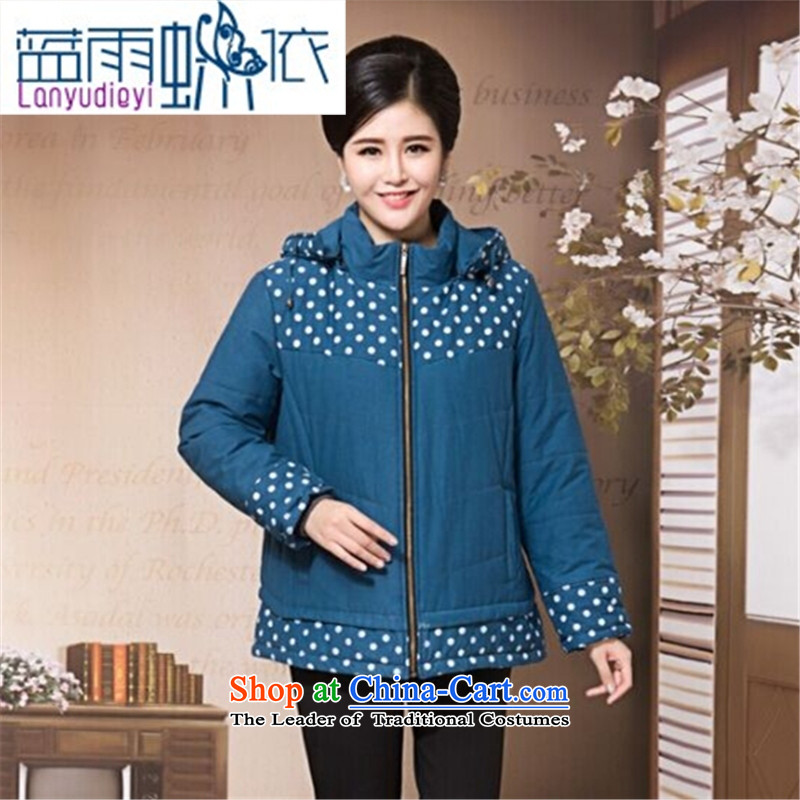 Ya-ting large shop middle-aged ladies Our autumn and winter clothing thick thick cotton clothing cardigan load mother in long cotton jacket 200 catties green燲XL recommendation 170 to 180 catties