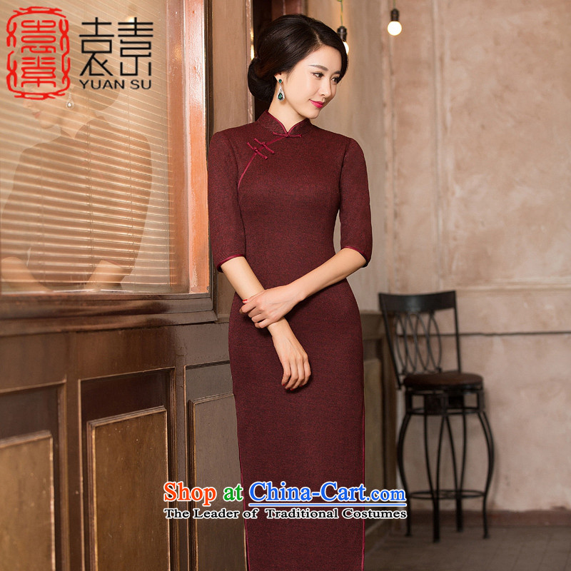 Yuan of and Stylish retro knitting wool 2015 cheongsam dress? the new winter clothing qipao improvement long skirt T13051 load magenta mother M