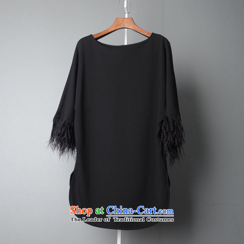 The main European site high-end women 2015 Autumn ostrich gross cotton round-neck collar in loose piece female爂c3759 long燽lack燣