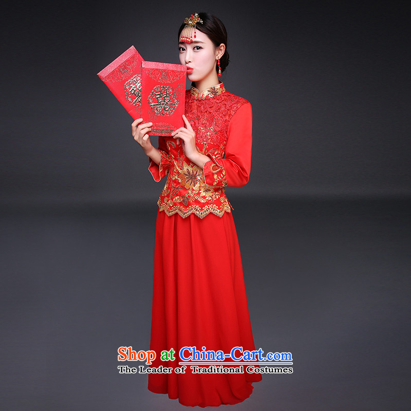 Blooming crazy marriage of qipao improvements winter cheongsam dress Tang dynasty long-sleeved bride bows services RED燤