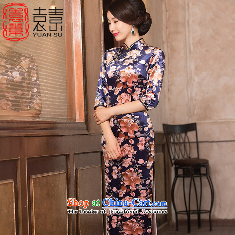 Yuan of Yue Ying 2015 Fall/Winter Collections of nostalgia for the establishment of a new court qipao wind improved cheongsam dress, Banquet Chinese Dress T13055 picture color XXL