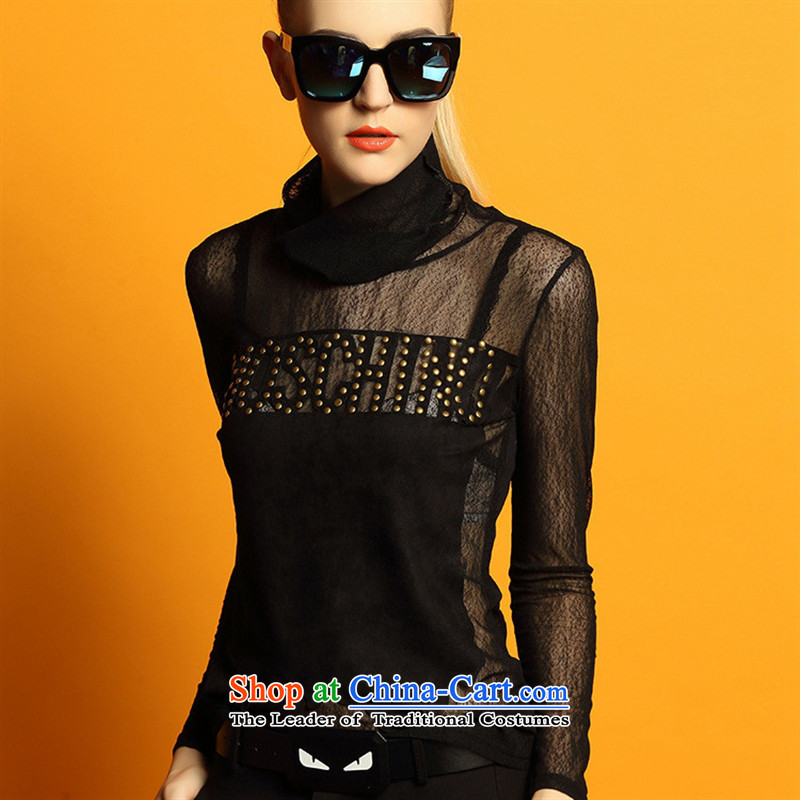 Hami 2015 winter clothing new letter pattern stitching Sau San video heap heap for thin long-sleeved T-shirt and black shirt, forming the kit are code