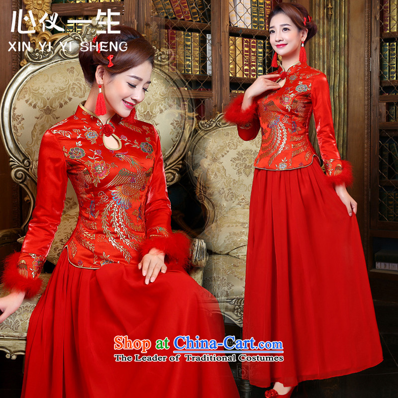 A heart is the bride wedding dress 2015 winter plus cotton new red marriage services improved long-sleeved stylish bows retro cheongsam dress long red�L