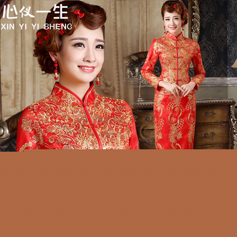 A heart is a red plus cotton long skirt on chip qipao Stylish retro improved bride services Sau San�2015 winter bows new thick cheongsam red�XXL