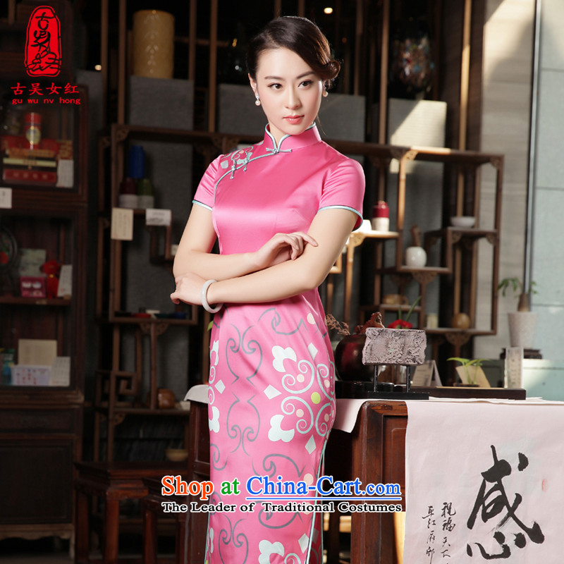The Wu female red long Silk Cheongsam 2015 New Sau San heavyweight sauna silk cheongsam dress Fall/Winter Collections rose red S