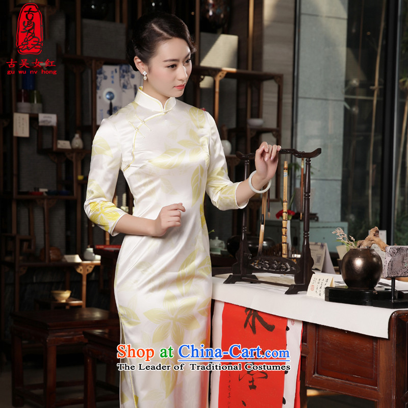 The Wu female red high-end qipao 2015 New Fall/Winter Collections of silk-to-day long qipao Sau San dress 7 Cuff multi-color gradient�M