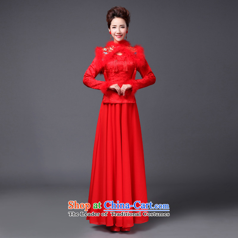 Jie mija bows Service Bridal Fashion 2014 new red wedding dresses in long-sleeved marriage evening dresses lace RED?M