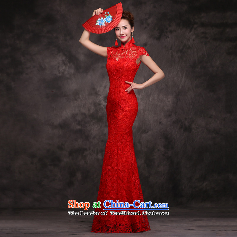 Jie Mija?2015 new bride services stylish married bows qipao spring long-sleeved red Chinese Dress long autumn and winter, red short-sleeved?L