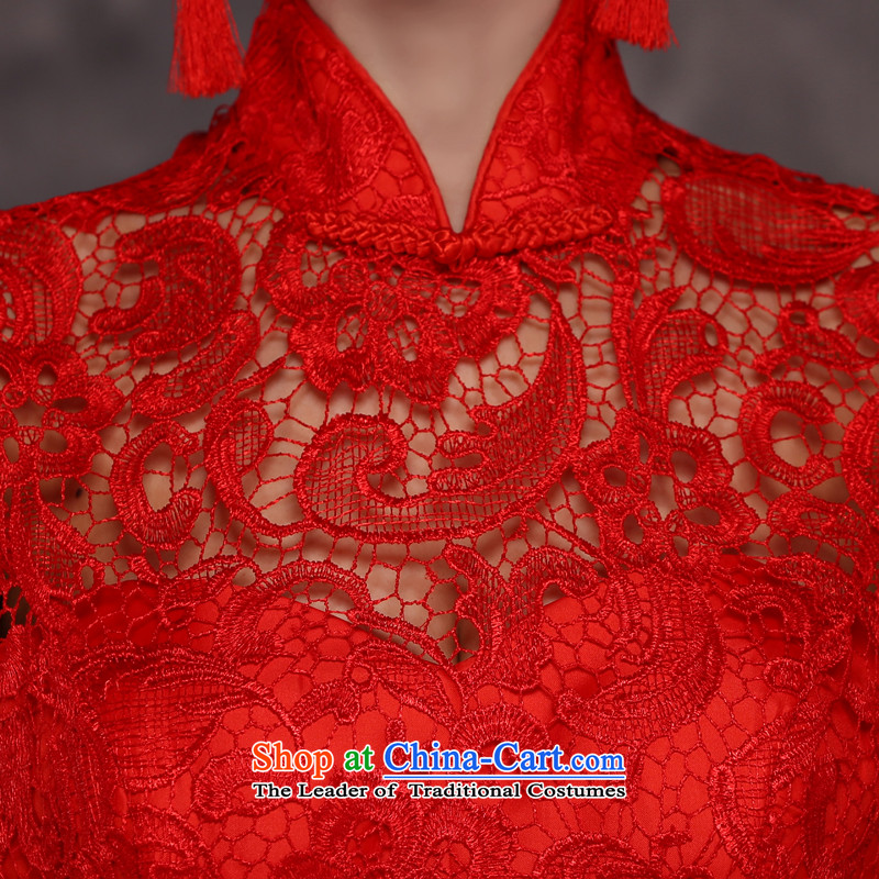 Jie Mija 2015 new bride services stylish married bows qipao spring long-sleeved red Chinese Dress long autumn and winter, short-sleeved red , L, Cheng Kejie mia , , , shopping on the Internet