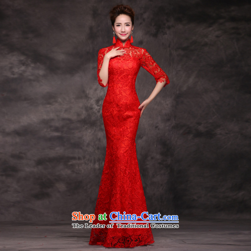 Jie Mija�2015 new bride services stylish married bows qipao spring long-sleeved red Chinese Dress long autumn and winter, red sleeved�M