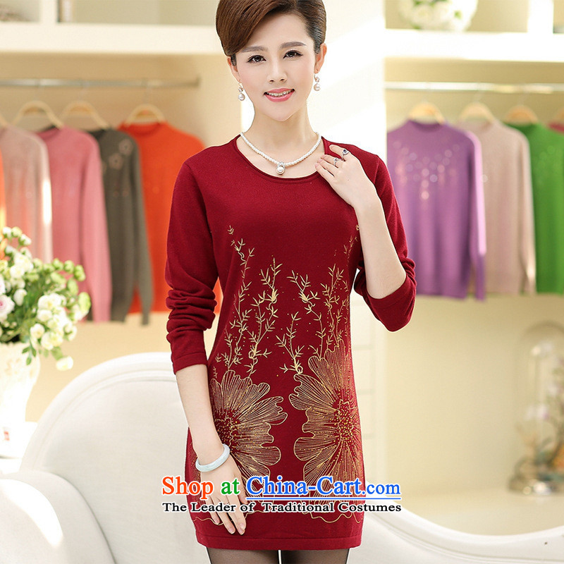 * New Hong-apples in the number of older women in the autumn and winter, forming long skirt middle-aged moms replacing sweater knit sweater Qiu Xiang green?XL