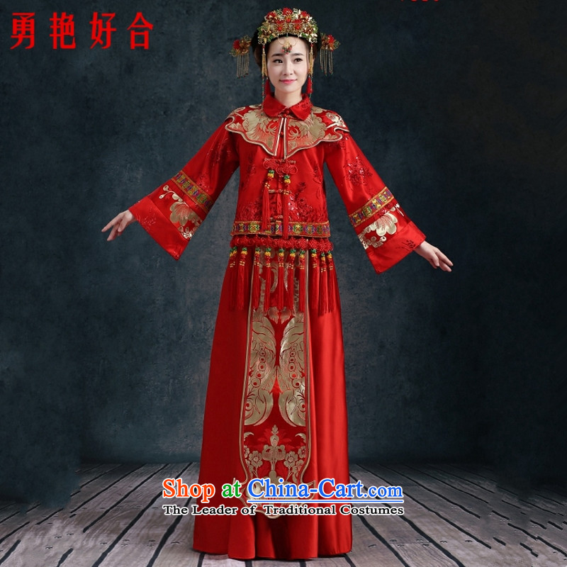 Yong-yeon and 2015 New Sau Wo Service bridal dresses female Chinese wedding dresses wedding gown marriage wedding macrame Soo- no refunds or exchanges kimono red XXL