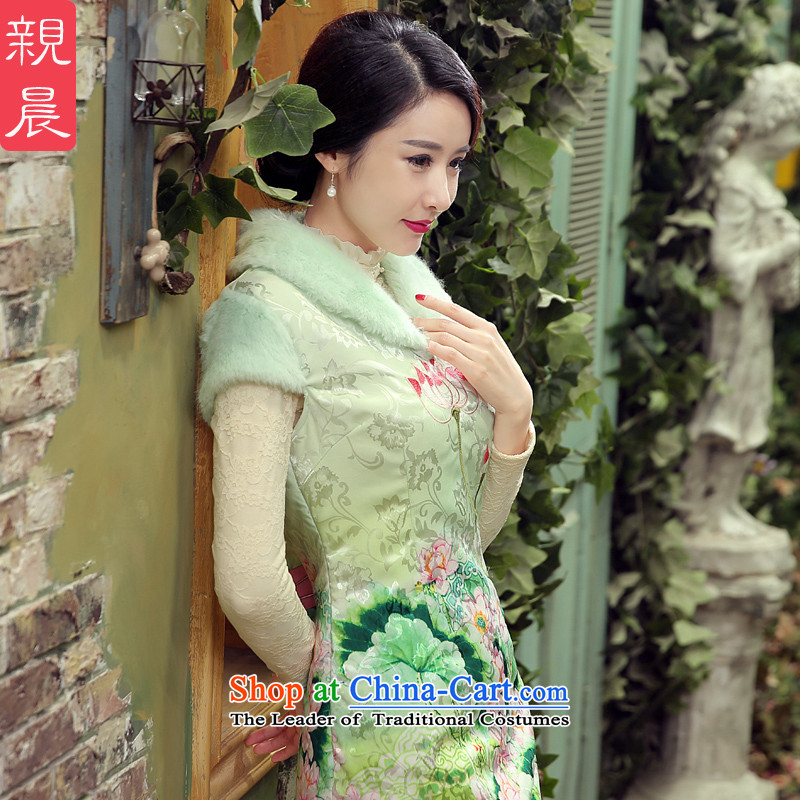 The pro-am cheongsam dress autumn and winter 2015 new stylish daily maximum code improved clip cotton short, thin hair graphics collar pale green燤