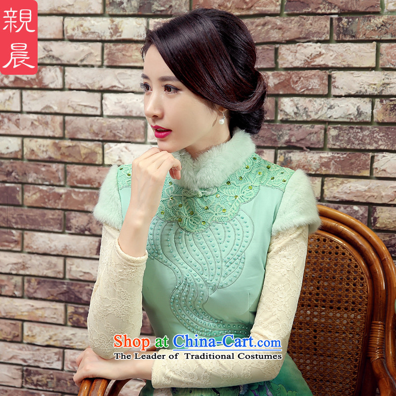 The pro-am cheongsam dress autumn and winter 2015 new improved warm modern-day large short, thin Ms. graphics dresses mint green�L