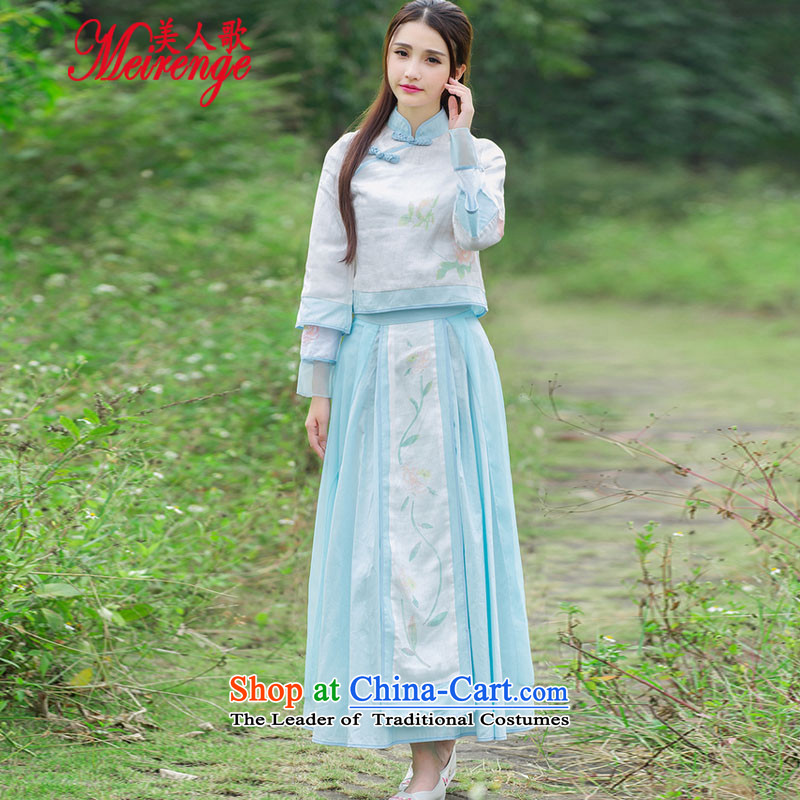 The beauty of anime new songs with games Tang dynasty cotton linen easy definition with a fresh round-the-world kit shirt two kits?(inside the cloak )028 + two kits?L