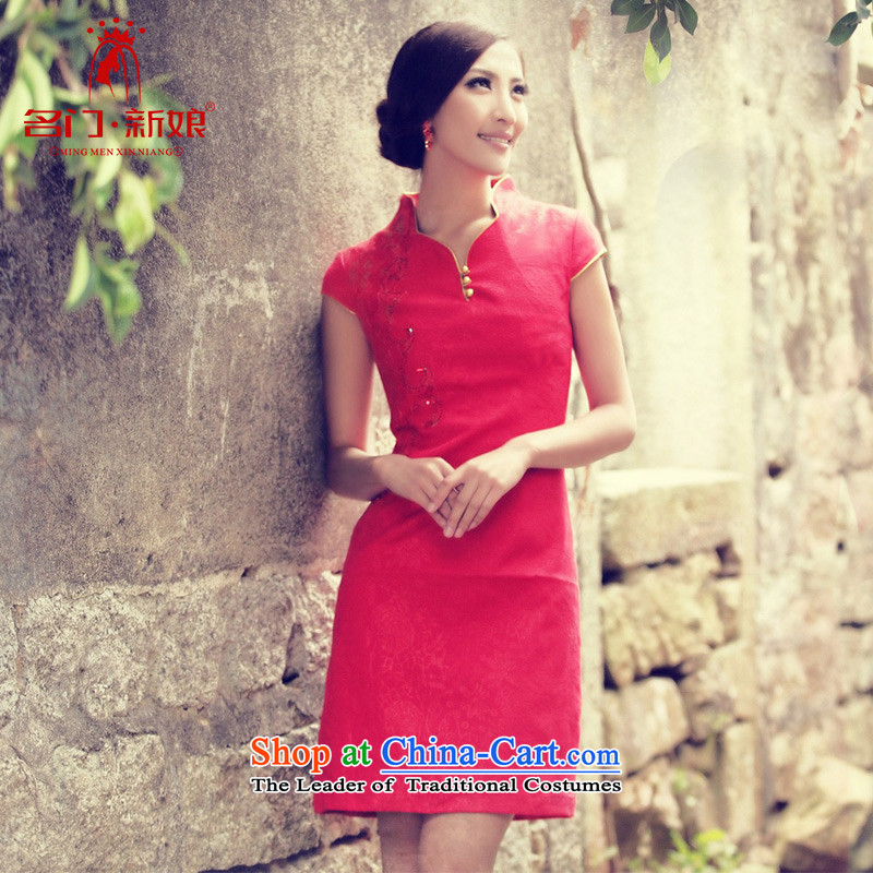 A new marriages qipao summer bows service qipao 837 red?L