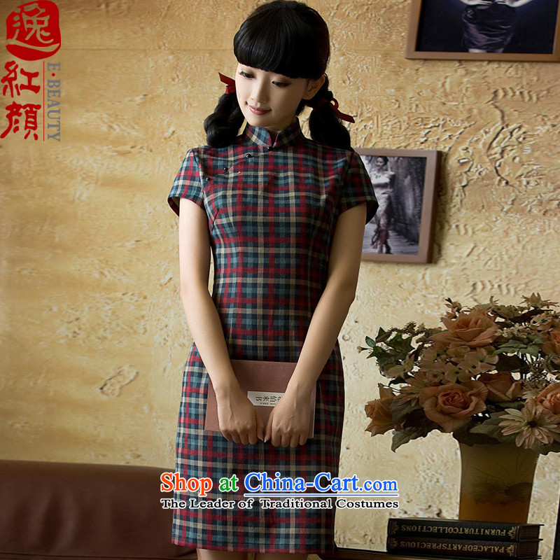 The elections as soon as possible. If the water in the archaeologist makes the Yat flocking thick latticed qipao spring Stylish retro short of improved燱J051燬UIT燣