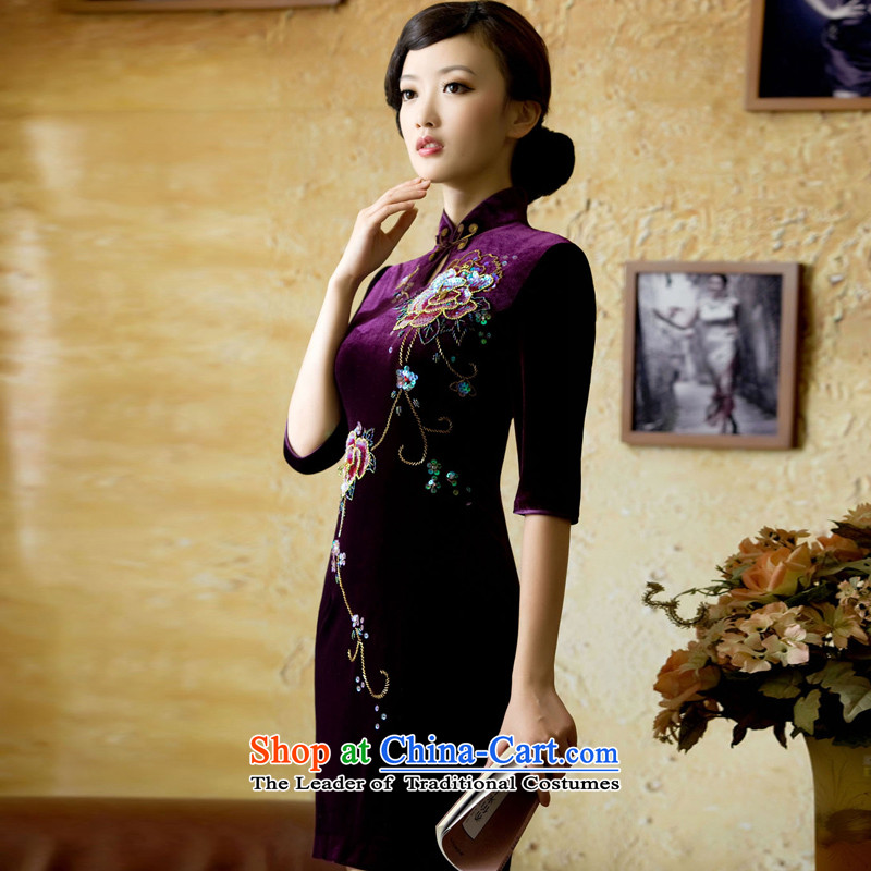 A Pinwheel Without Wind Yat fragrance heavy wool manually staple Pearl Wah Kwai short) cuff retro Kim scouring pads qipao autumn and winter light purple聽, L, Yat Lady , , , shopping on the Internet