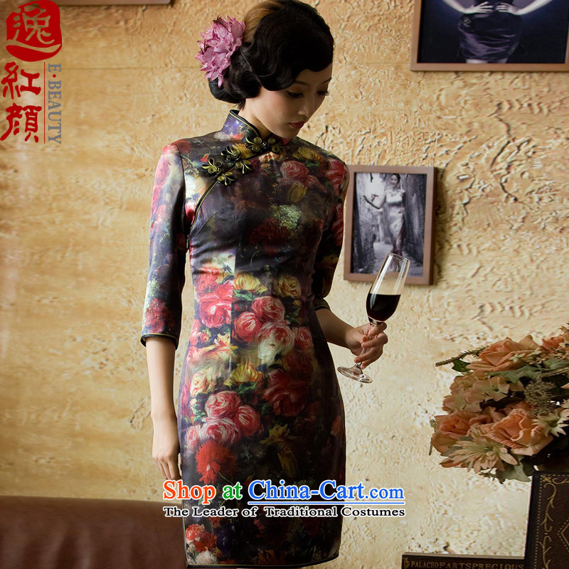 A Pinwheel Without Wind Kam Joseph Yat heavyweight Silk Cheongsam?autumn 2015 new boxed stylish improved cheongsam dress suit?2XL