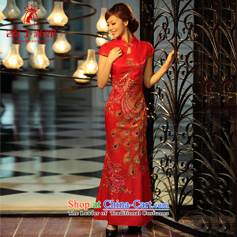 Name the new bride door marriage qipao retro long cheongsam red bows Services聽253 S