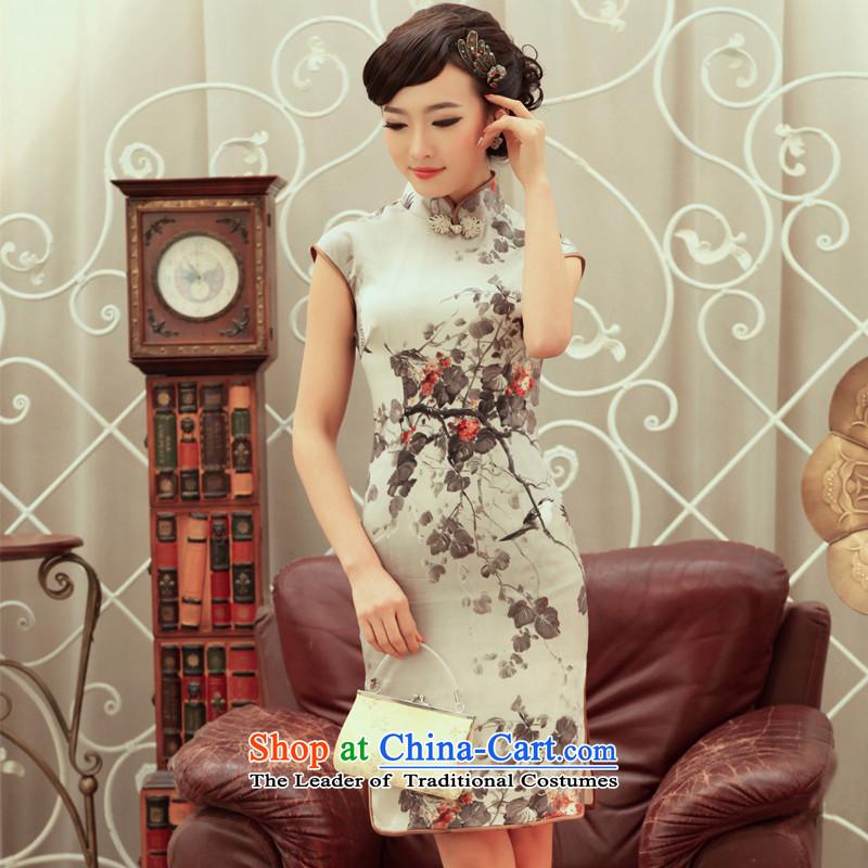 Love of birds ink stain 2015 Summer new stylish upmarket Silk Cheongsam improved skirt?QC236?CARBON?XXL