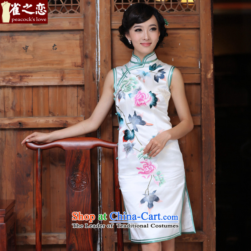 Love of birds, Cuiwei heavyweight silk manually collar sleeveless embroidered a flap QD326 qipao White燲L