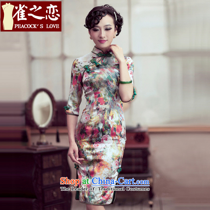 Love of birds and flowers impression of?spring 2015 new cheongsam dress retro style qipao skirt flower improved impression?S