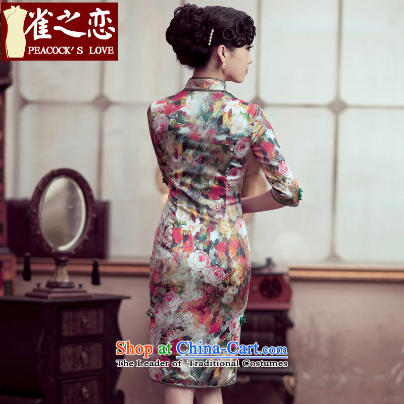 Love of birds and flowers impression of spring 2015 new cheongsam dress retro style qipao skirt flower improved impression S love birds , , , shopping on the Internet
