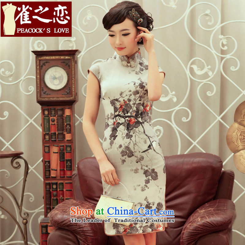Love of birds ink stain�spring 2015 new stylish upmarket Silk Cheongsam improved skirt�QC236�CARBON�S