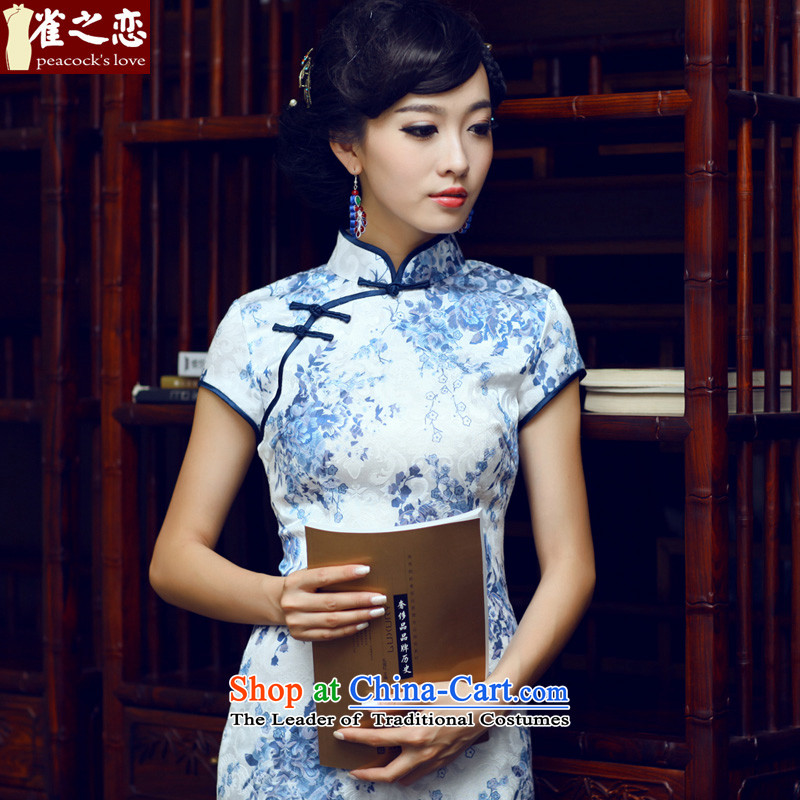 Love of birds porcelain燿ecorated in spring 2015 seen wearing short of qipao dresses cheongsam dress燪D024 daily爁igure燬