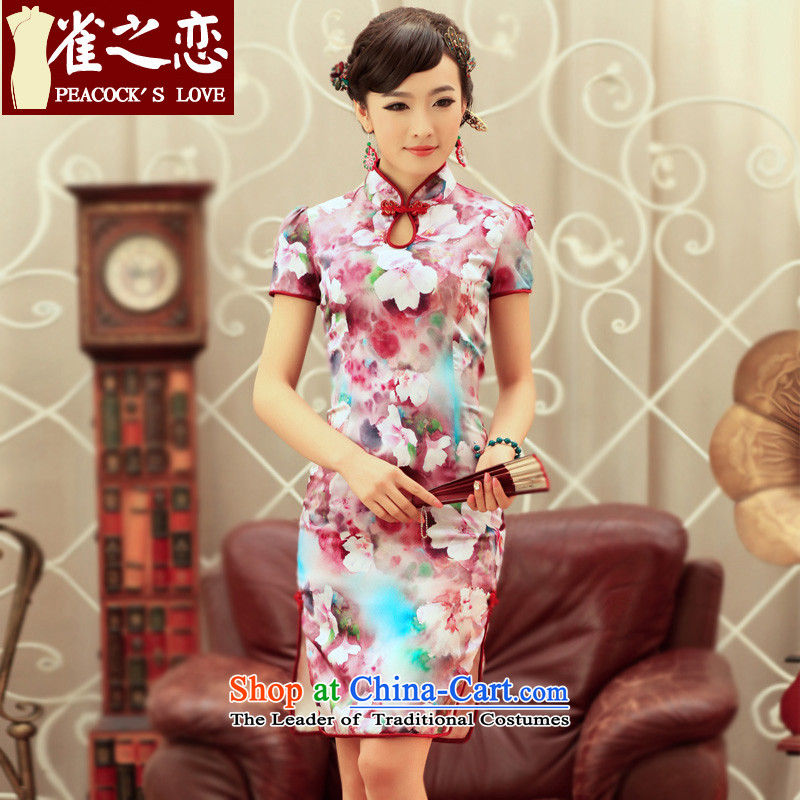 Love of birds dream for the Peach Blossom Spring, Spring 2015 new bubble cuff improved stylish Silk Cheongsam QD240 SUIT XL