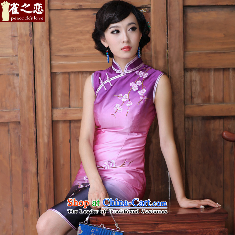 Love of birds push-to-day classical embroidered short qipao manually silk cheongsam dress)�QD188�figure�S