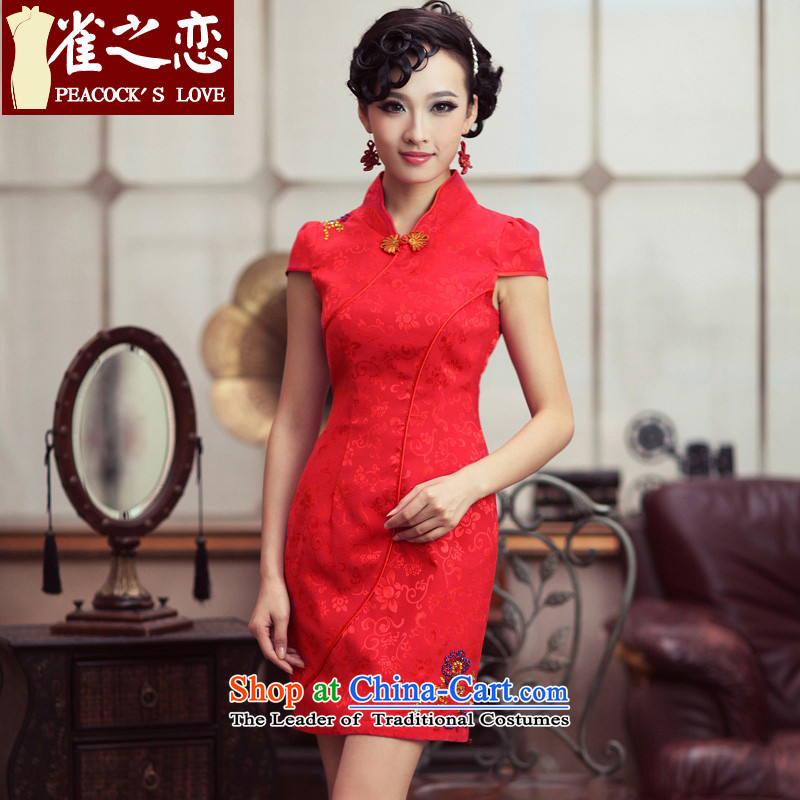 Love of birds marriages qipao stylish booking drill red improved cheongsam dress QD190 RED XL