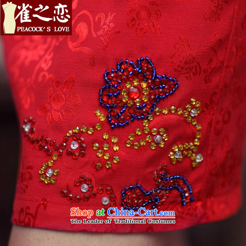 Love of birds marriages qipao stylish booking drill red improved cheongsam dress聽QD190聽Red聽Birds of land has been pressed XL, online shopping