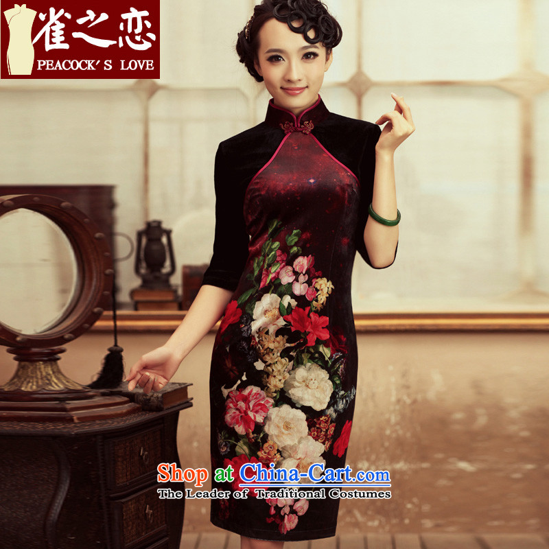 Love of birds of life by no means ended?2015 Spring New retro in style qipao cuff improved velvet long skirt qipao?L