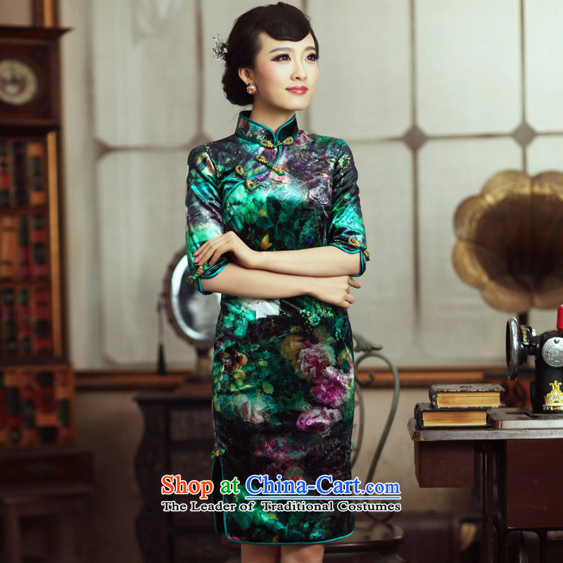 Scent Of Love birds surplus cuff?spring 2015 New Stylish retro in improved cuff qipao?QC231 Kim scouring pads?as shown?XL