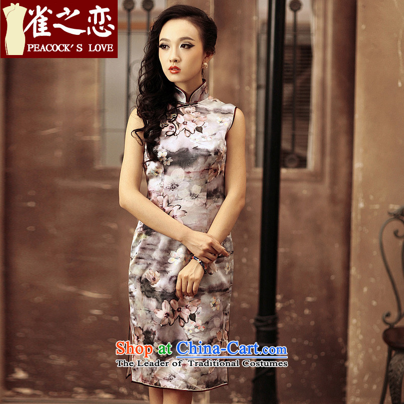 Love of birds silk cheongsam dress Sau San improved sleeveless daily short of Qipao QD184 figure燲XL