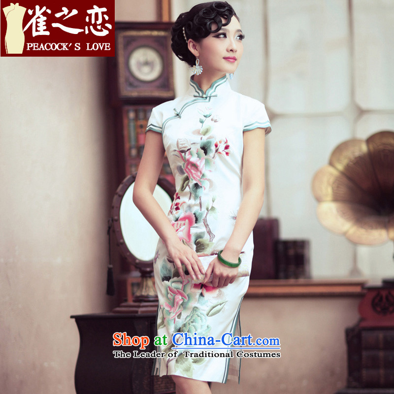 Love of birds of Overgrown Tomb branches of undyed heavyweight Silk Cheongsam embroidery short of retro cheongsam dress�QD195�white�S
