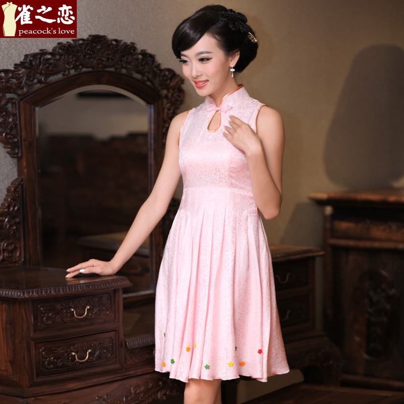 Love of birds short hearing heart for?summer 2013 new improved stylish sleeveless cheongsam dress?QD337?figure?XXL