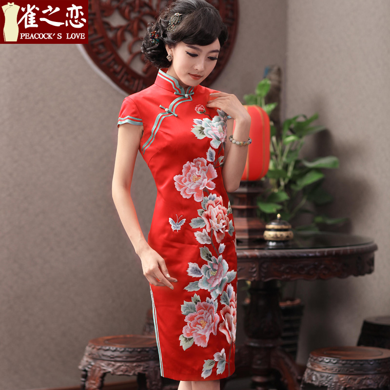 Love of birds q mirror the爊ew spring 2015 retro elegant heavyweight Silk Cheongsam wedding dresses QD353 RED燤