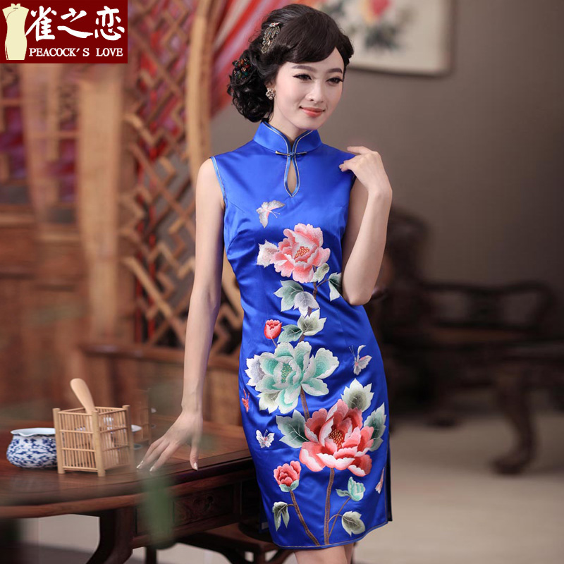 Love of birds Dan embroidered�spring 2015 new timelessly elegant hand embroidered heavyweight Silk Cheongsam QD344 BLUE�S