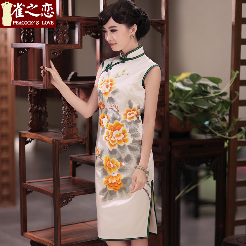 Love of birds hates makeup and form�new spring 2015 manually push embroidered heavyweight Silk Cheongsam QD349 figure�L