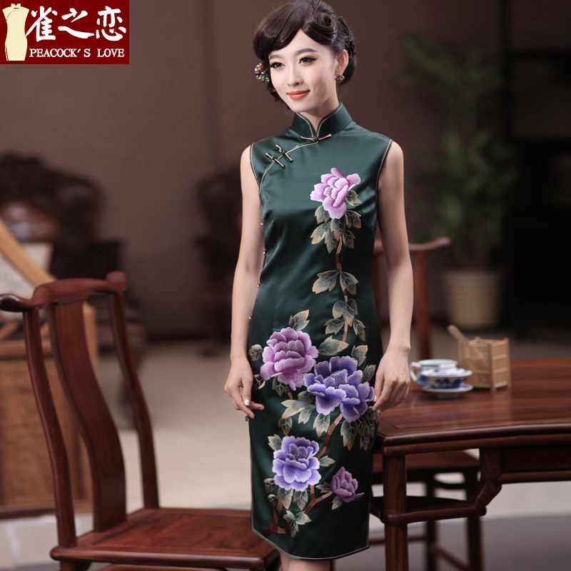 Love of birds Jiangcheng Sub�13 Summer new double side pushing embroidered heavyweight Silk Cheongsam QD346 figure - 20 days pre-sale燬